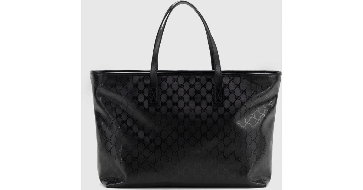 Gucci Black Gg Imprimé Leather Tote Lyst