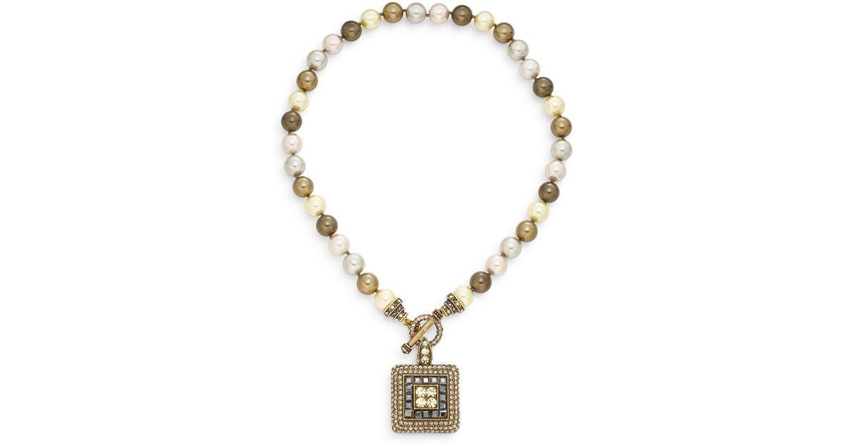7452f45dc3a0b Heidi Daus Metallic Tantalizing Beaded Swarovski Crystal Pendant  Necklace/goldtone