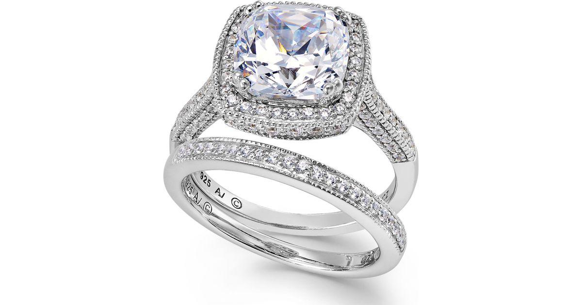 Arabella Swarovski Zirconia Bridal Ring And Band Set 7 5 8 Ct T w in Meta