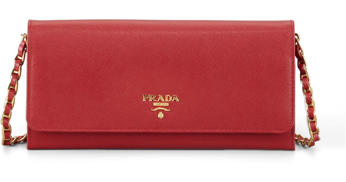 prada authentic handbags - Prada Saffiano Leather Wallet-on-chain in Red | Lyst