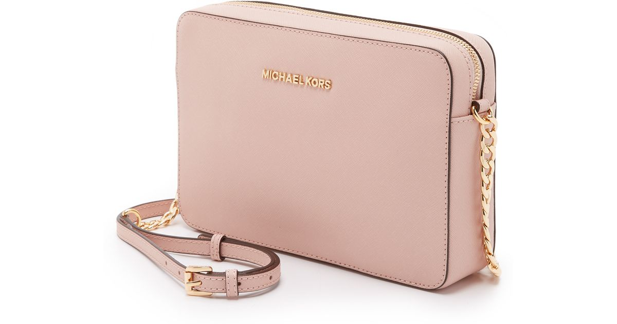 f663559d271e MICHAEL Michael Kors Medium Jet Set Saffiano Leather Cross-Body Bag in Pink  - Lyst