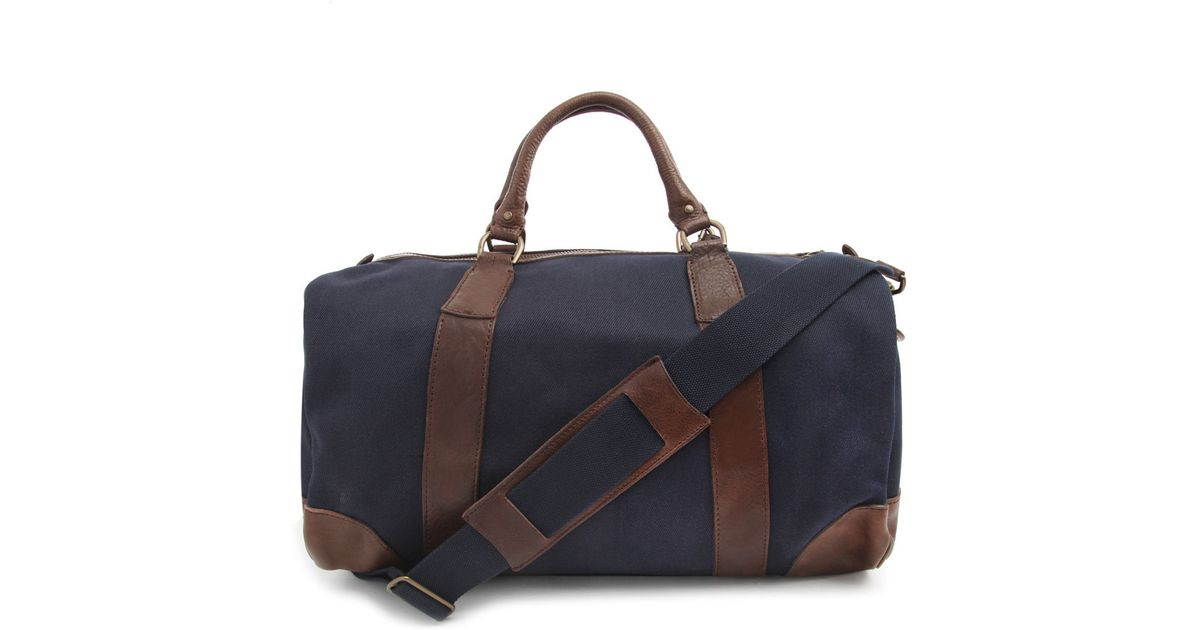 Polo ralph lauren Canvas and Leather Navy Blue Weekend Bag in Blue for Men | Lyst