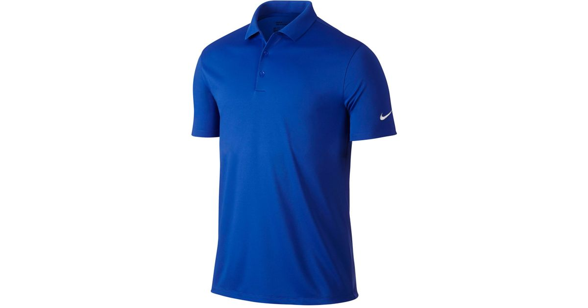 Nike men 39 s victory solid dri fit golf polo in blue for men for Nike dri fit victory golf shirts