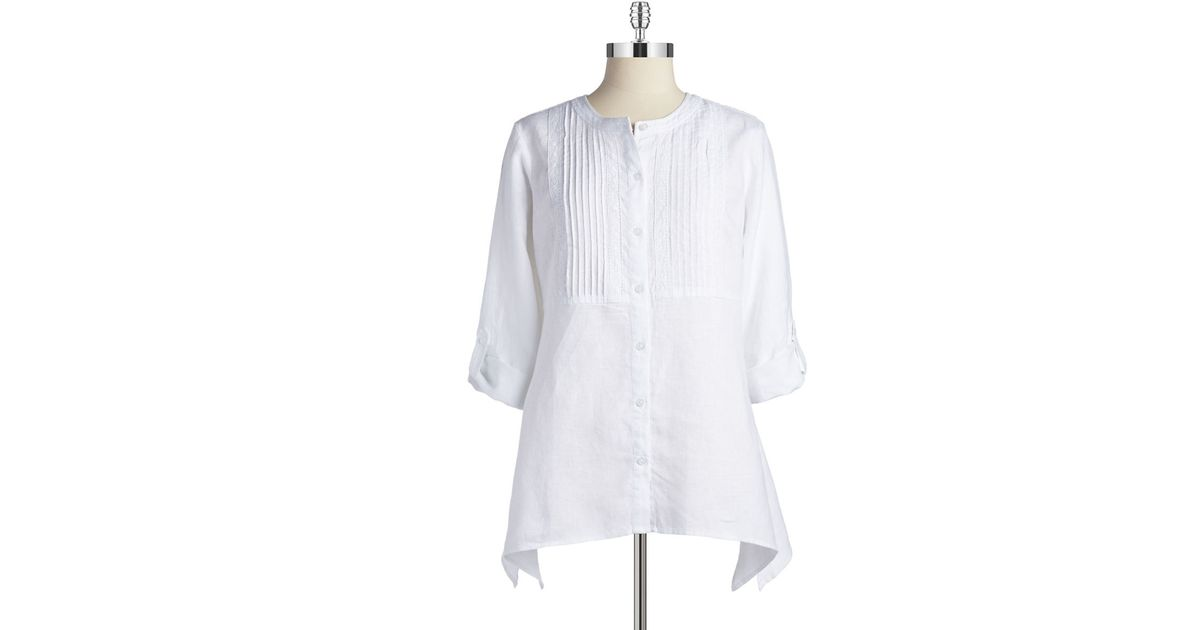 White Linen Peasant Blouse 120