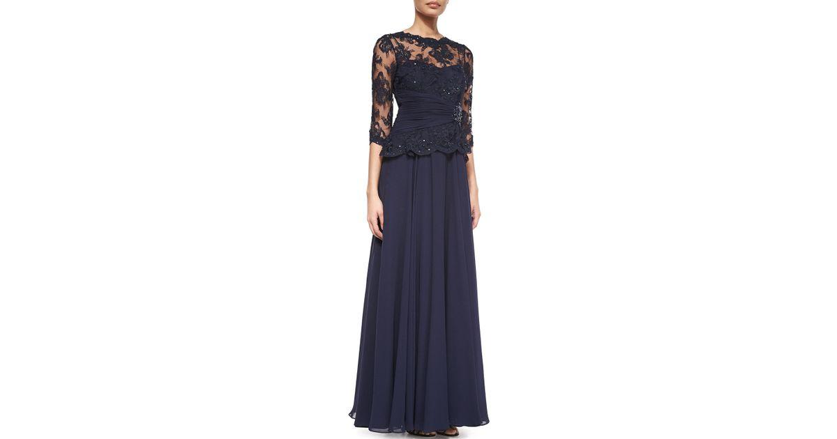 f5c8dc4b80c7 Lyst - Teri Jon 3 4-sleeve Lace Chiffon Peplum Gown in Blue