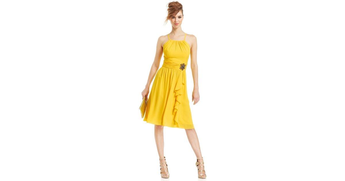 Nine West Halter Crisscross-Back Cocktail Dress In Yellow