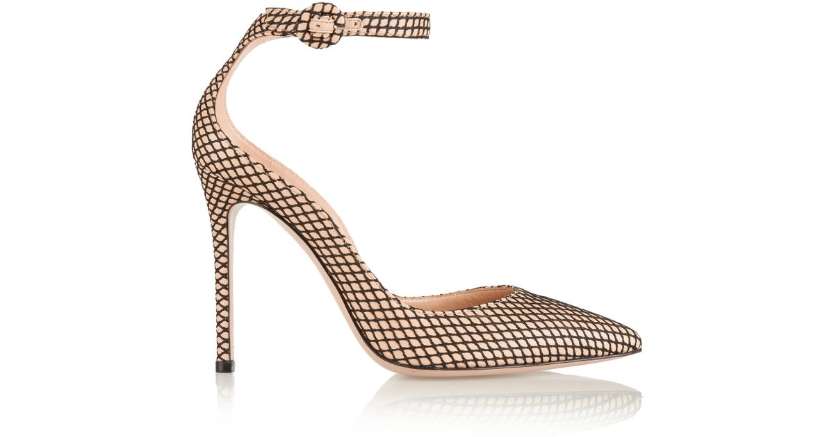 6e1ad1bbeee9 Gianvito Rossi - Natural Leather And Fishnet Pumps - Lyst