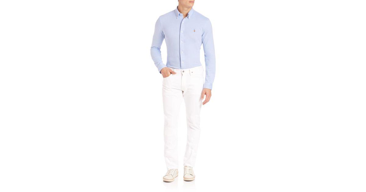 polo ralph lauren slim fit oxford shirt in blue for men. Black Bedroom Furniture Sets. Home Design Ideas