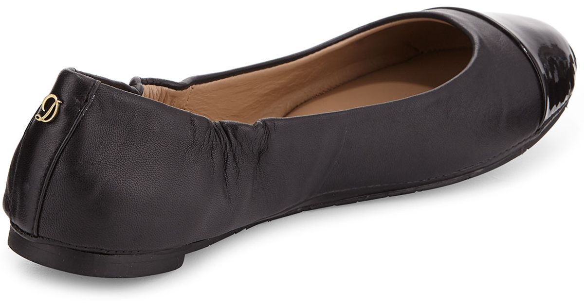 31edc16e94a Lyst - Delman Maya Patent Leather Cap-toe Ballerina Flat in Black