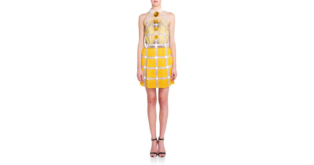 bbeb01ead5 Marco De Vincenzo Fringed Flower-print Dress in Yellow - Lyst