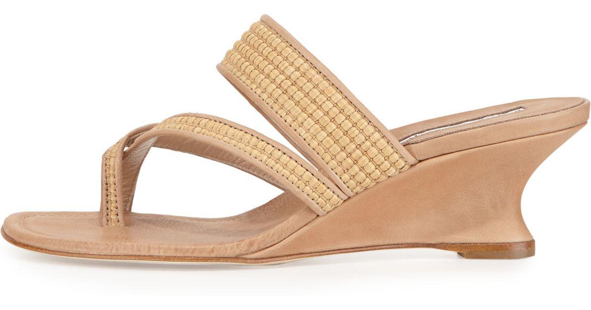 free shipping choice Manolo Blahnik Woven Raffia Sandals browse cheap price eDHcJjs52