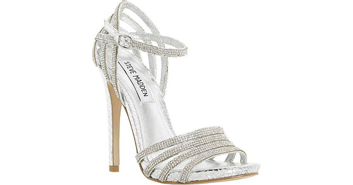 ac15bcde666 Steve Madden Cagged Diamante Strappy Heeled Sandals - For Women in Metallic  - Lyst