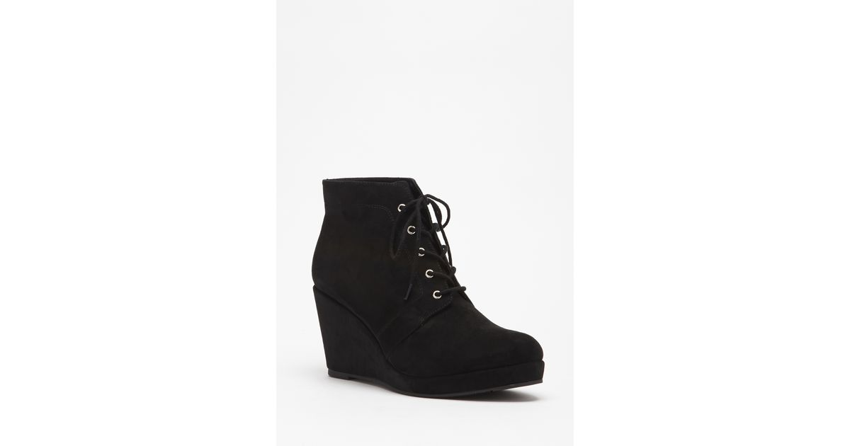 cf67320f7cb Lyst - Forever 21 Faux Suede Lace-up Booties in Black