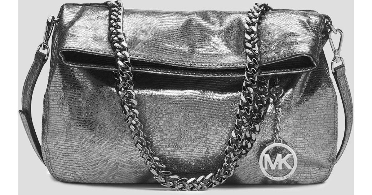 b7da639873dfb3 MICHAEL Michael Kors Tote - Lacey Medium Foldover Metallic Lizard in  Metallic - Lyst