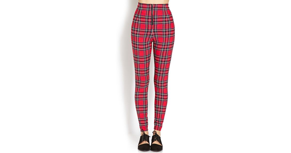 d4836109 Forever 21 Red Highwaisted Plaid Pants