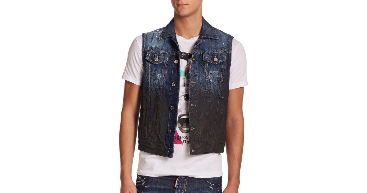 d8512438b4bf47 Lyst - DSquared² Mud Splatter Denim Vest in Blue for Men
