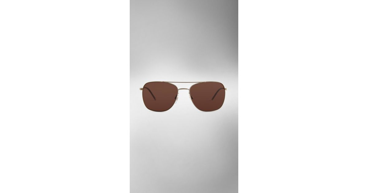 860c404575373 Lyst - Burberry Check Arm Aviator Sunglasses in Brown for Men