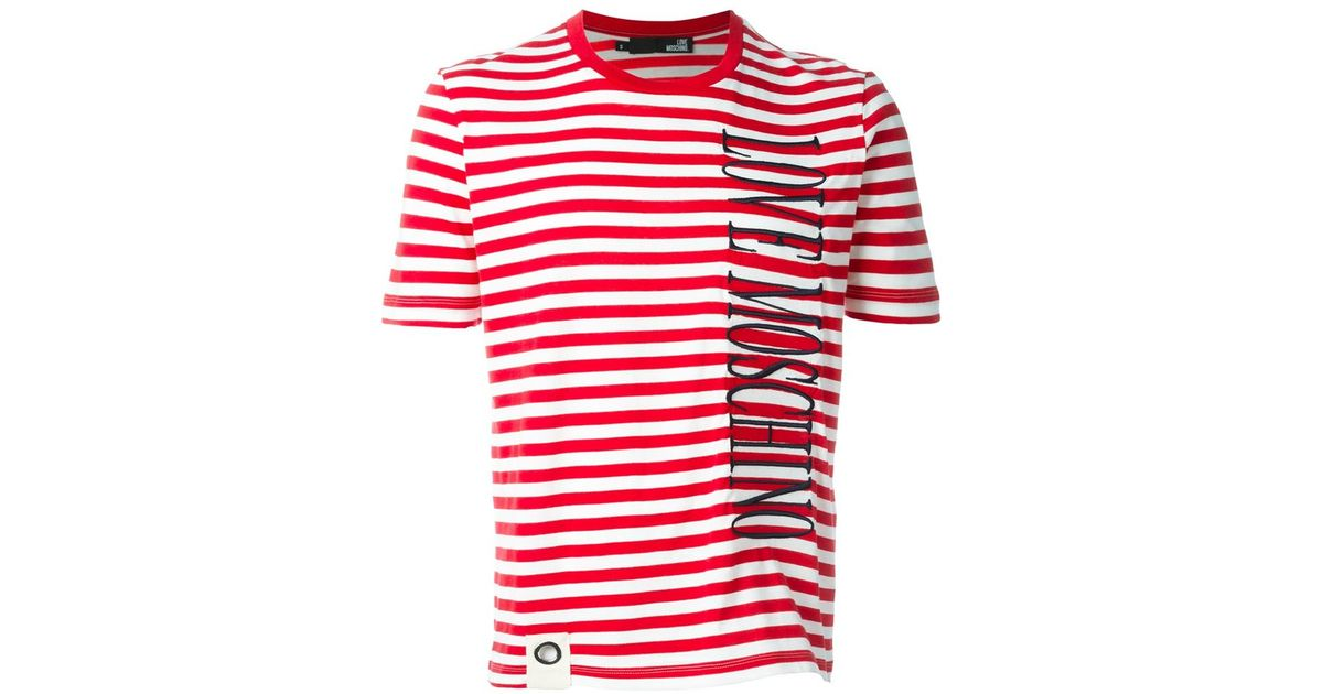Love moschino Striped Cotton T-Shirt in Red for Men