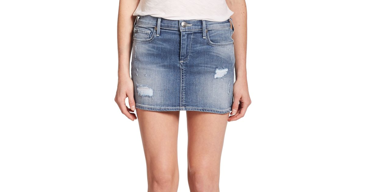 true religion alexia distressed denim mini skirt in green