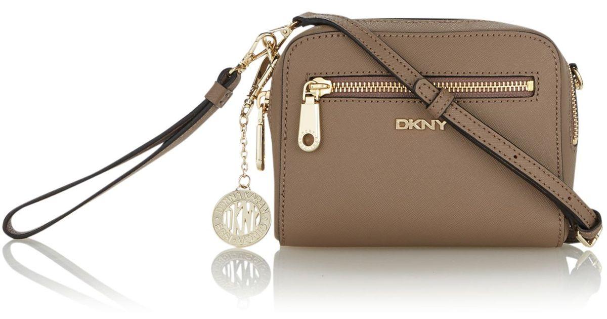 Dkny Saffiano Brown Crossbody Clutch Bag in Brown | Lyst