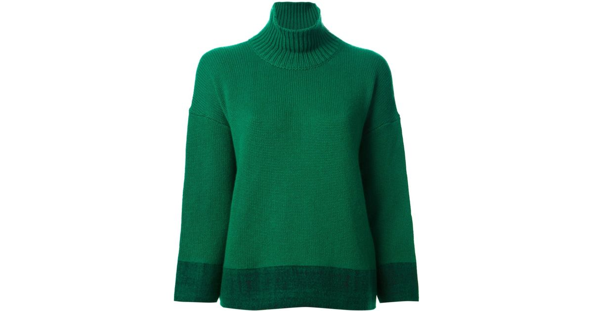 Marni Loose Fit Turtleneck Sweater in Green | Lyst