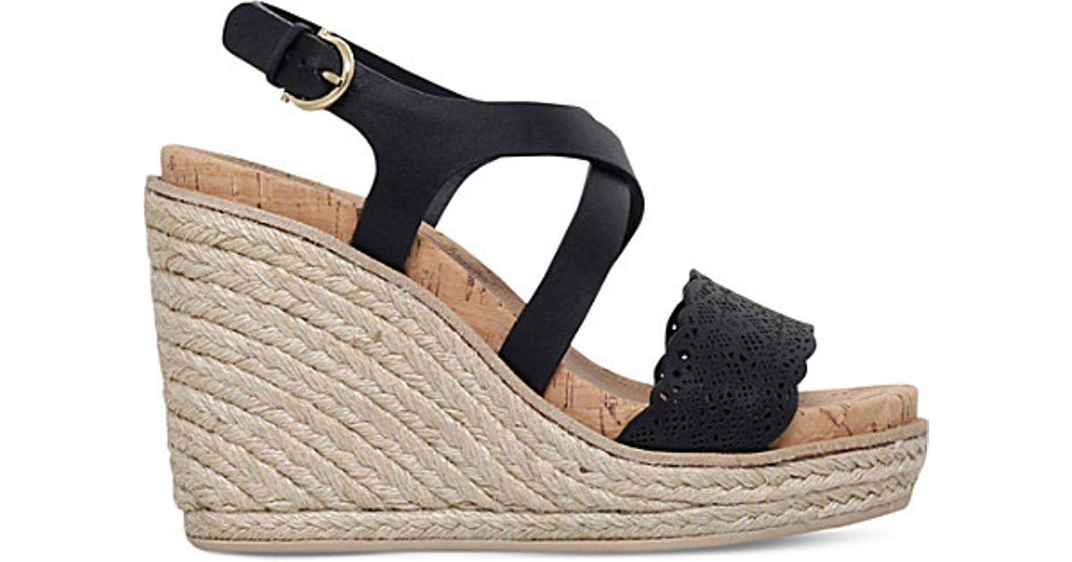 cba1aa884b3 Ferragamo - Black Gioela Leather Wedge Sandals - Lyst
