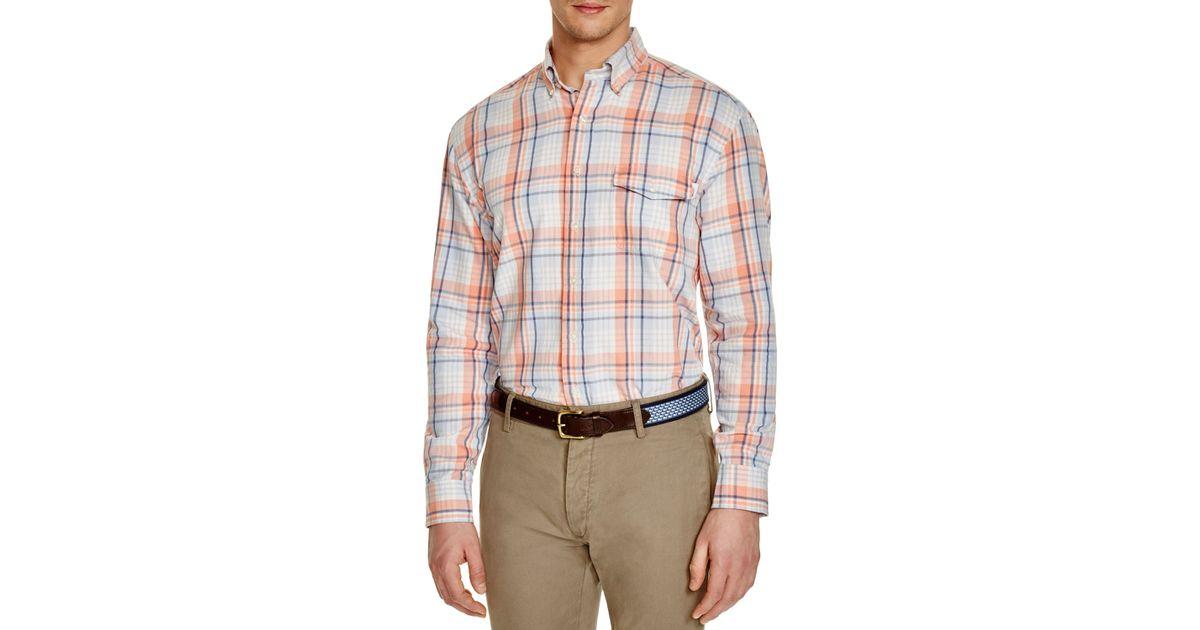 Vineyard vines plaid classic fit button down shirt in blue for Green plaid button down shirt