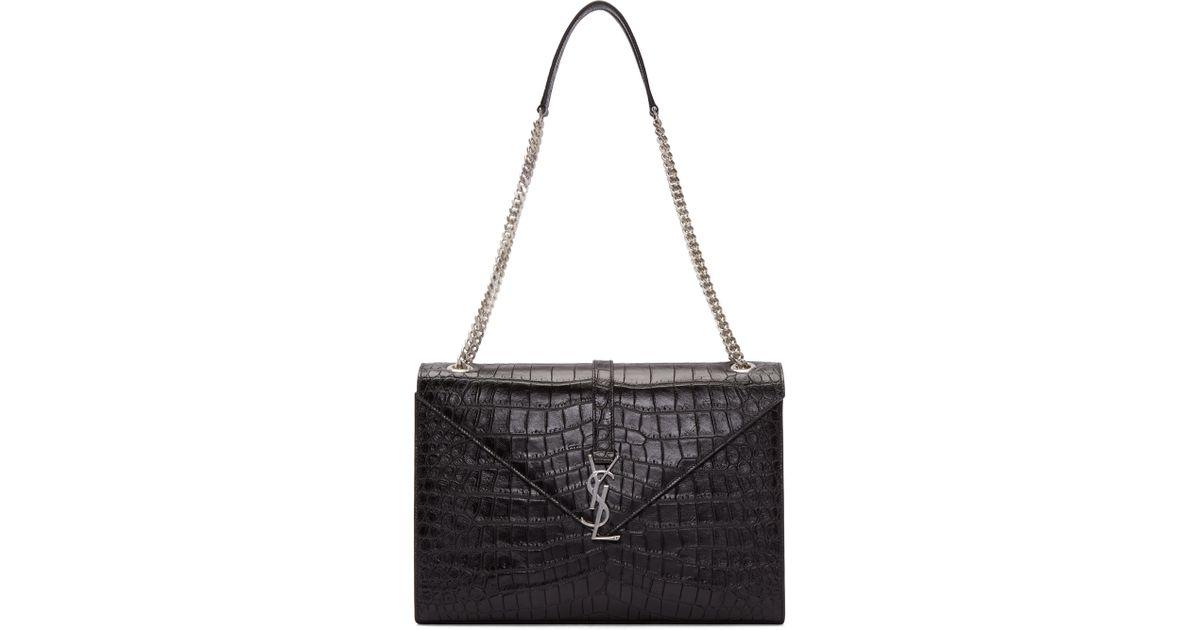 da7861917c0e Lyst - Saint Laurent Black Croc-embossed Large Monogram Chain Bag in Black