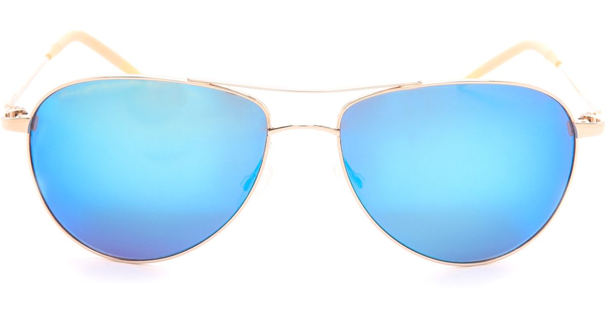bcd591d4de Oliver Peoples Benedict Mirrored Sunglasses - Gold Blue Mirror in Metallic  - Lyst