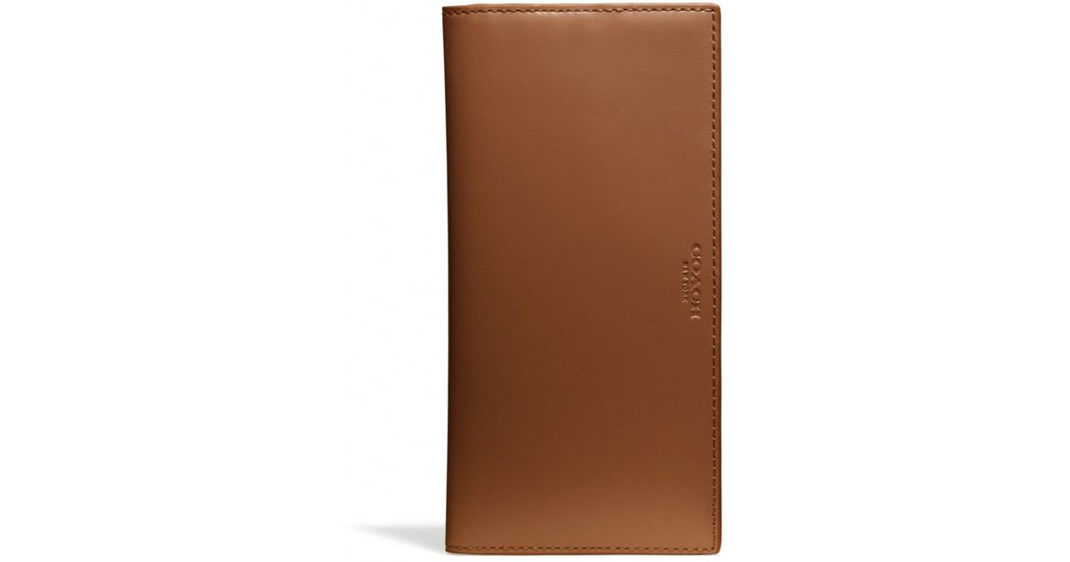 dcc0012e COACH Brown Crosby Breast Pocket Wallet in Polished Leather for men