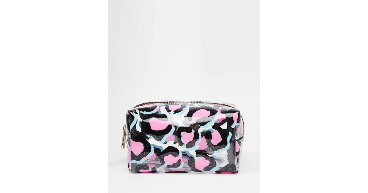 Lyst - Skinnydip London Black Glitter Leopard Print Make Up Bag 9da64c88fc401