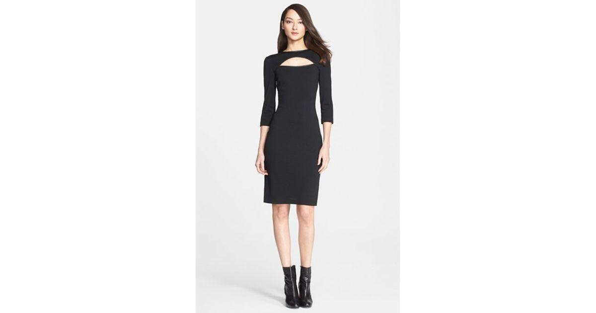 199f3bda6085 Lyst - St. John Leather Trim Cutout Milano Knit Sheath Dress in Black