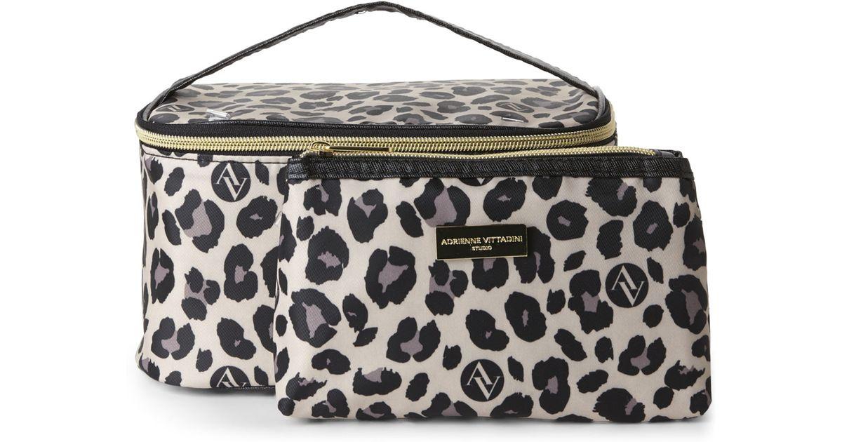 Lyst Adrienne Vittadini Leopard Print 2 Piece Cosmetic Bag Set In Black