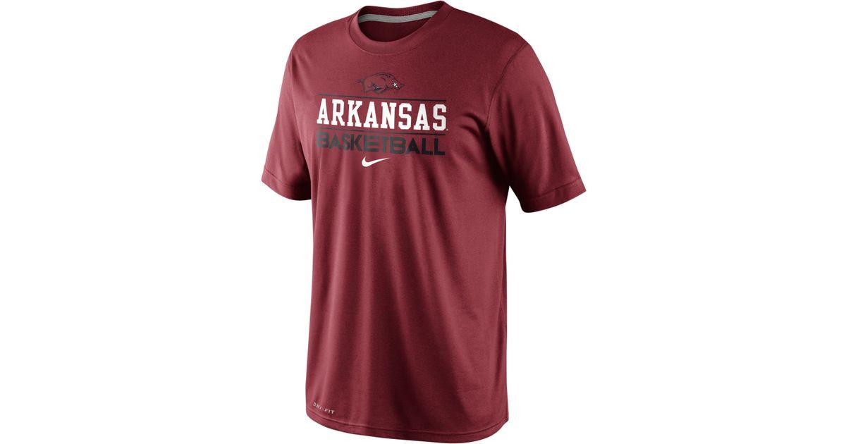 Nike Red Men's Arkansas Razorbacks Team Issue Basketball Practice Dri-fit  T-shirt for men