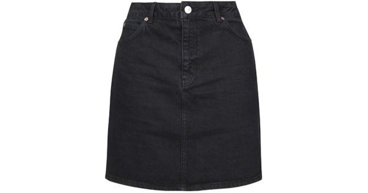 b6457727e3 TOPSHOP Moto High-waisted Denim Skirt in Black - Lyst