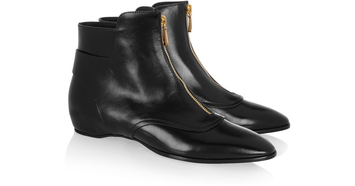 7afb0044685f3 Tod's Glossed-Leather Ankle Boots in Black - Lyst