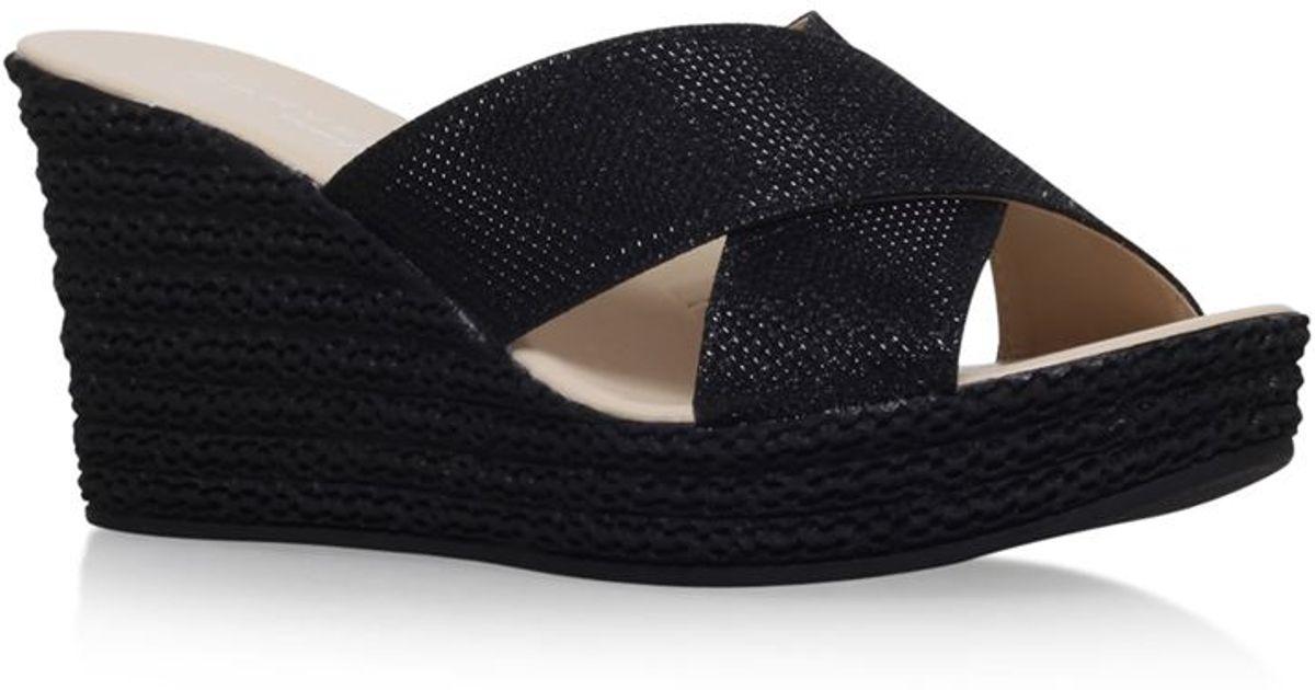 d519da85b01 Carvela Kurt Geiger Sabrina Mid-heel Wedge Sandal in Black - Lyst