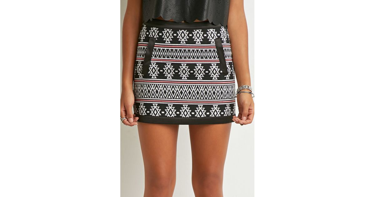 Lyst Forever 40 Southwesternpatterned Mini Skirt In Black Custom Patterned Mini Skirt