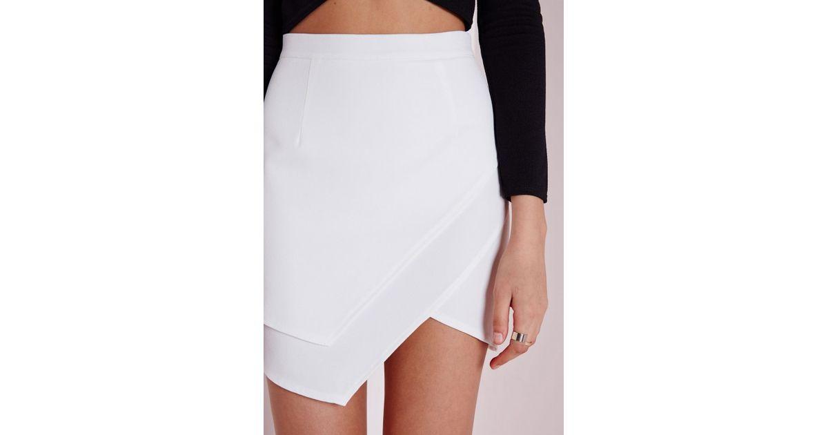 Missguided Asymmetric Wrap Mini Skirt White in White | Lyst