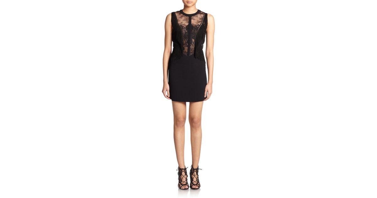 b34537456d6 The Kooples Crepe Lace & Fringe Dress in Black - Lyst