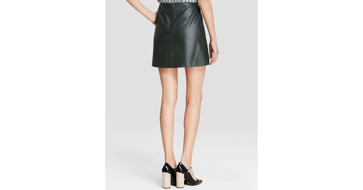 burch waxed leather mini skirt in green lyst