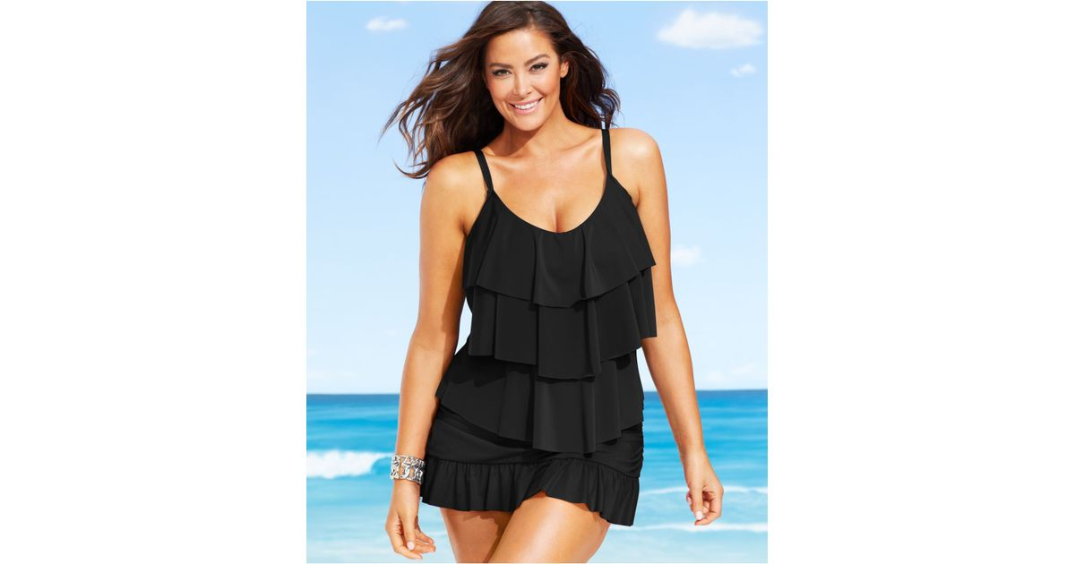 20cd221c20d Kenneth Cole Reaction Plus Size Tiered Ruffle Tankini Top in Black - Lyst