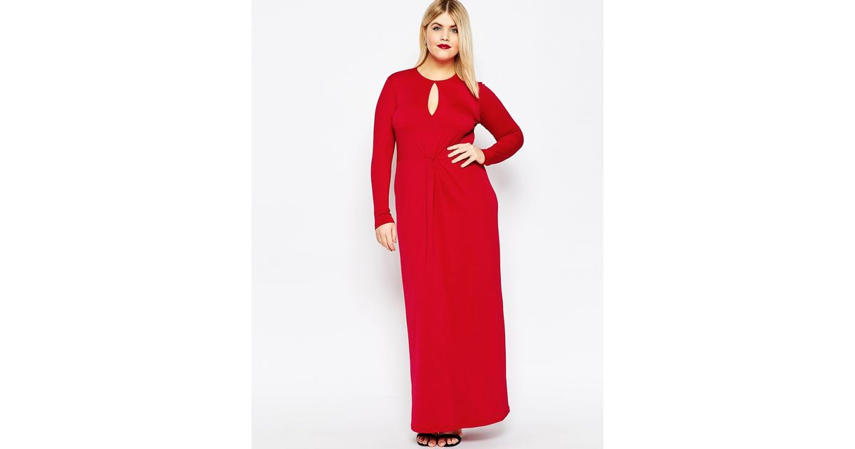 Asos Curve Deep Plunge Maxi Dress in Red