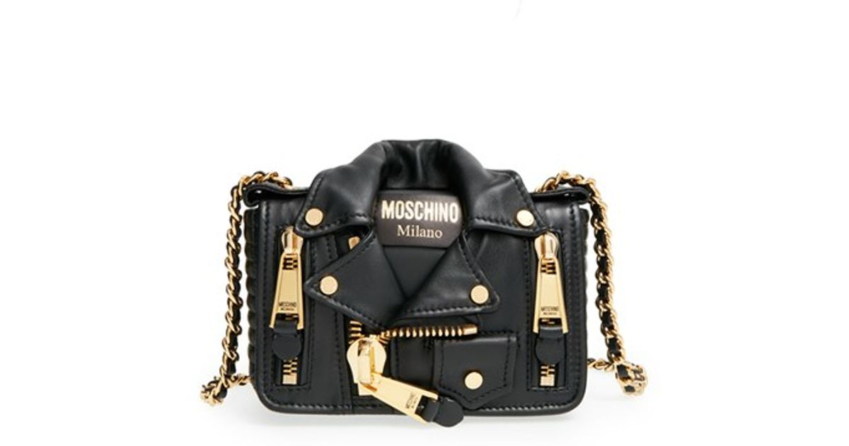 62c5f26d2b Moschino 'mini Leather Jacket' Crossbody Bag in Black - Lyst
