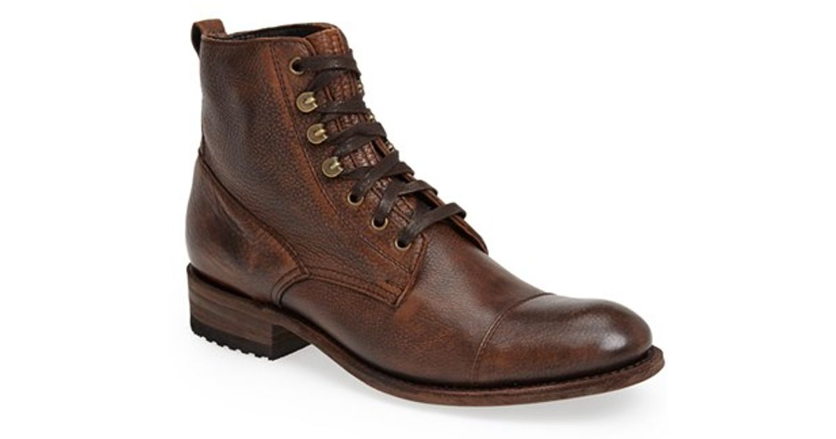 sendra station cap toe boot in brown for lyst