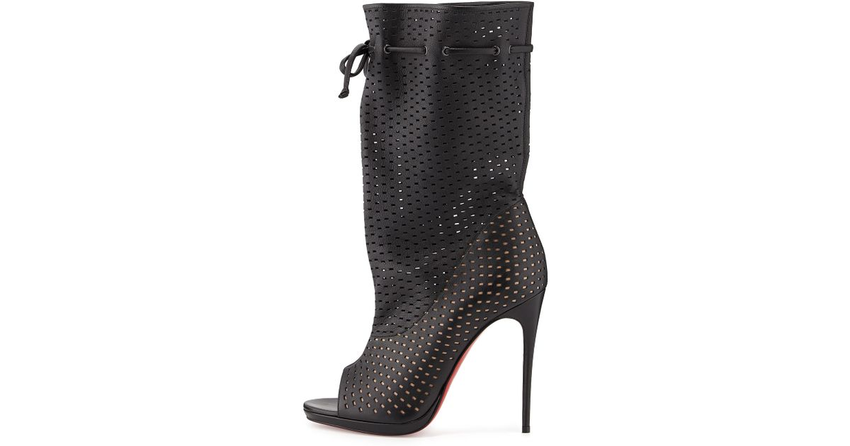 wholesale dealer 896cf f2cbf Christian Louboutin Black Jennifer Perforated Red Sole Boot