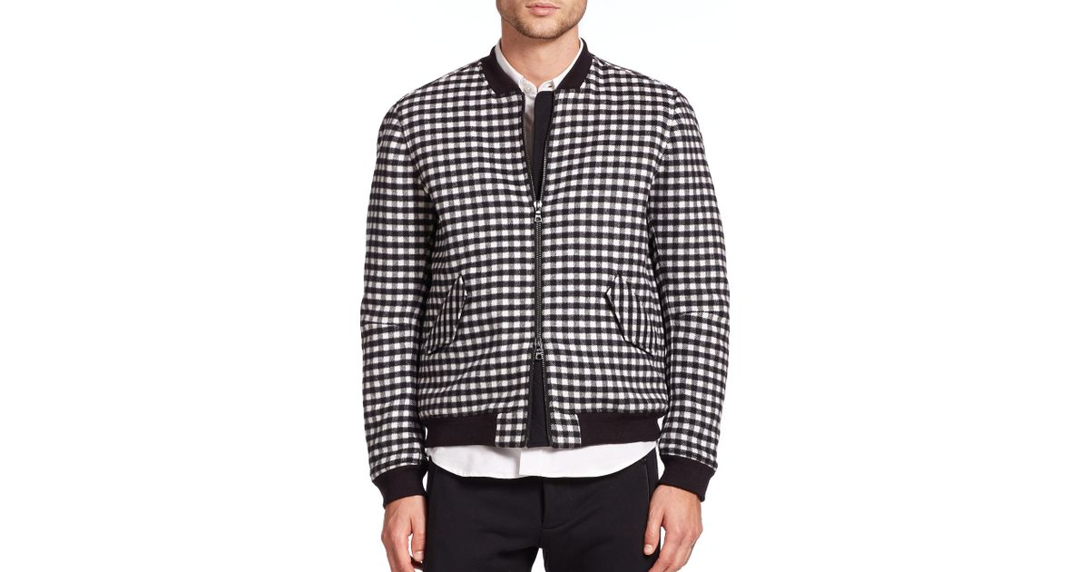 1b3681a23 Timo Weiland Black Buffalo Plaid Bomber Jacket for men