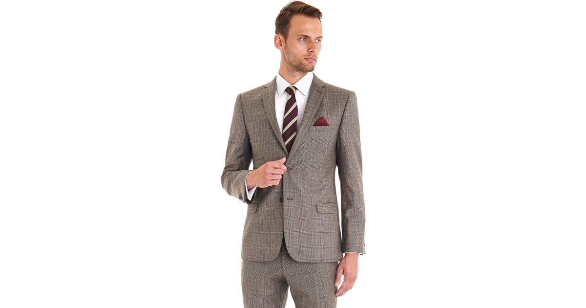 1d35195e6923ce Ted Baker Tailored Fit Brown Rusty Check Suit in Brown for Men - Lyst