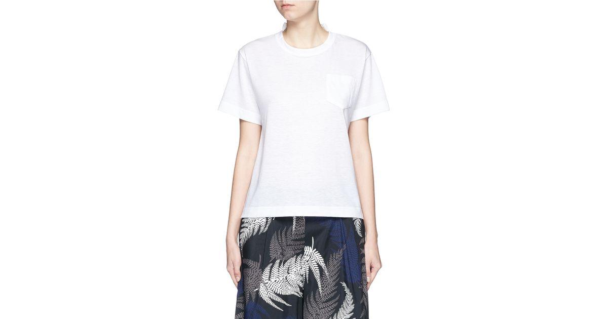 81995583380e Sacai Star Lace Back Slub T-shirt in White - Lyst