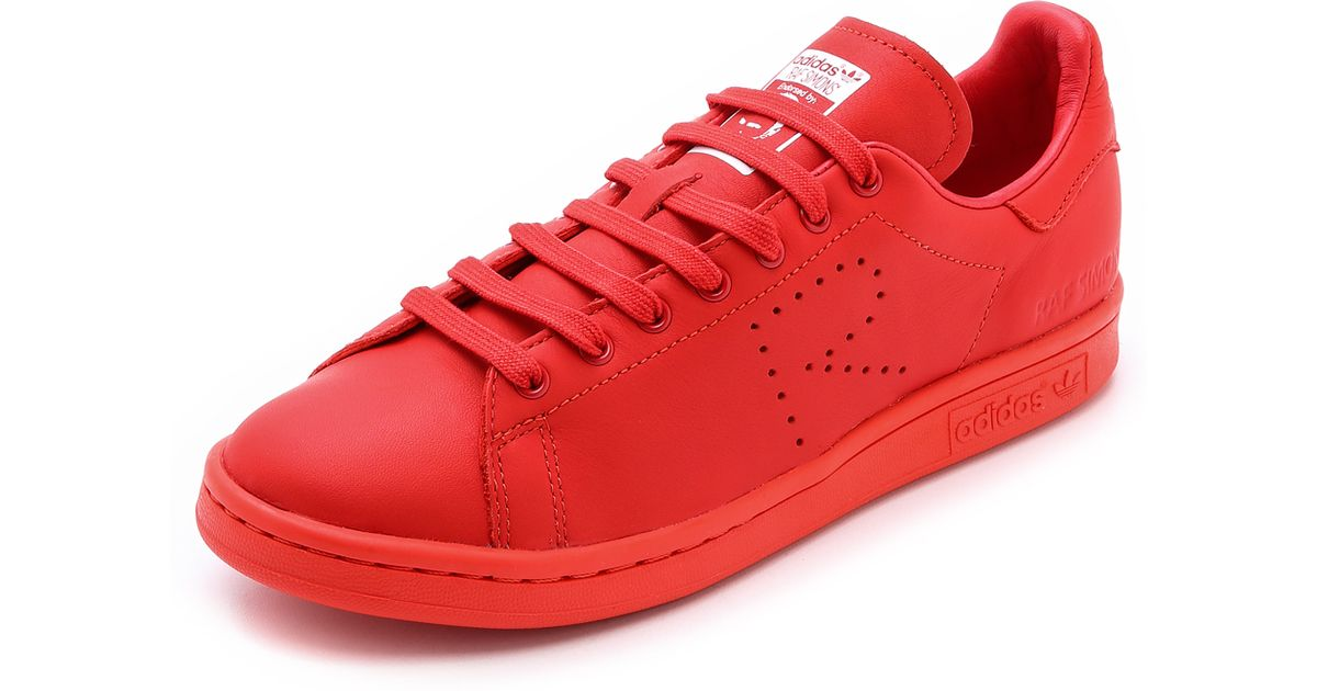 Adidas By Raf Simons Red Stan Smith Leather Sneakers